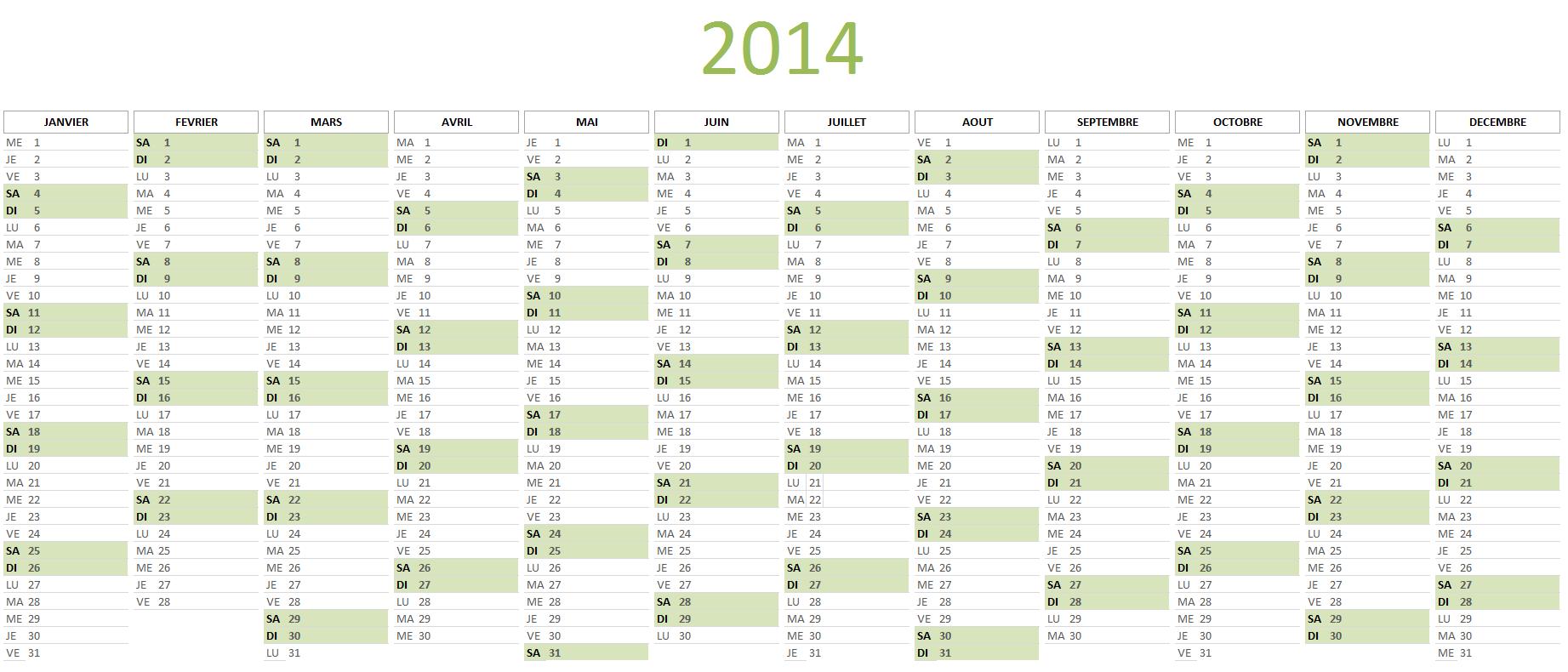 Calendrier 2014 à télécharger gratuitement au format Excel