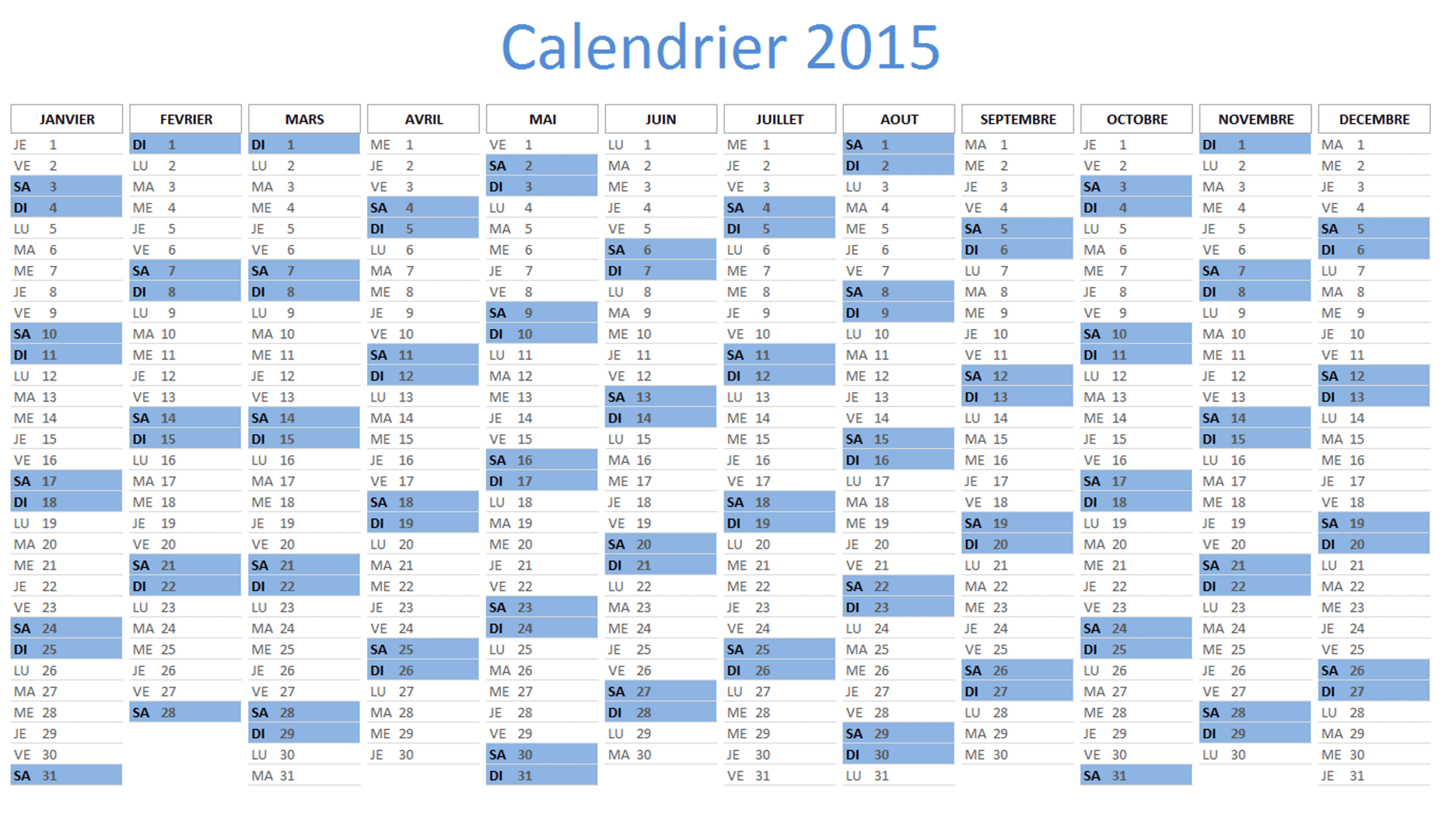 calendrier 2015 excel t l charger gratuitement. Black Bedroom Furniture Sets. Home Design Ideas