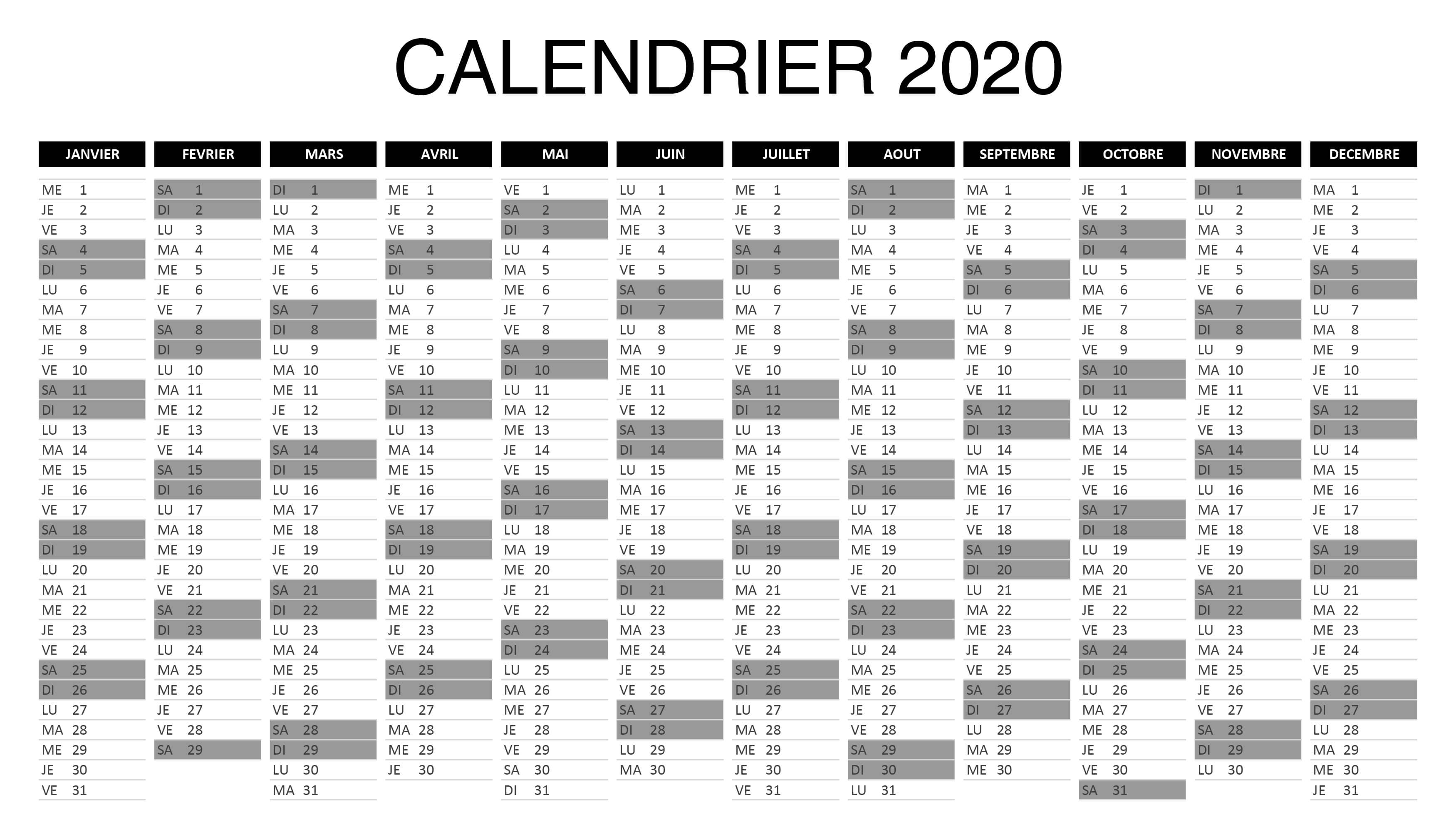 Calendrier 2020 Excel